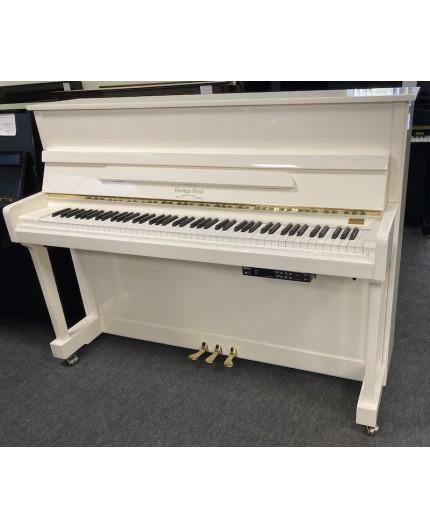 Piano droit blanc brillant-laiton avec silencieux