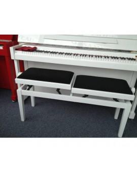 Banc blanc double pour 4 mains pianos, réglage hauteur de jeu